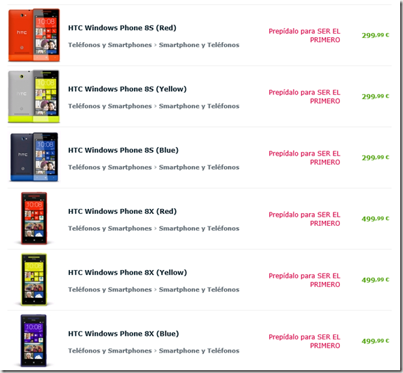 HTC 8x y 8s expansys españa