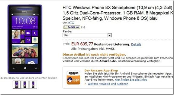 precio HTC 8X amazon alemania