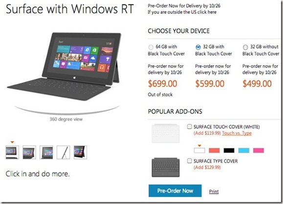 surface pre order