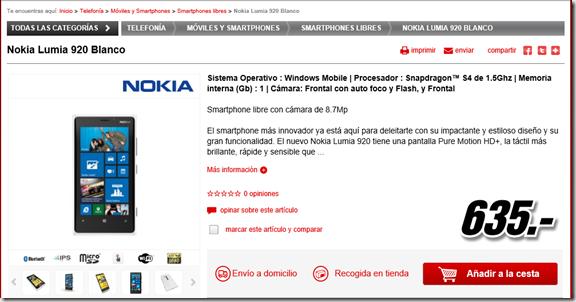 Lumia 920 en Mediamarkt