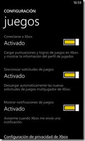 configuracion juegos