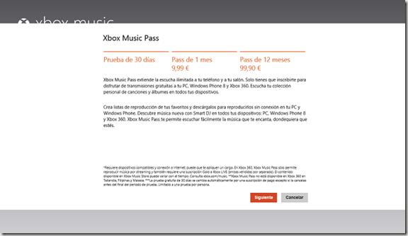 precios Xbox Music pass