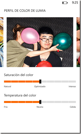 Configuracion de color WP8