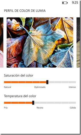 Configuracion de color WP 8